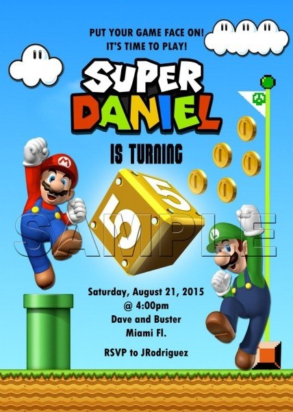 Super Mario Invitation Mario & Luigi Mario Bros Birthday