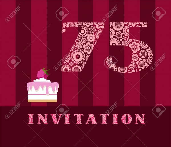 Invitation, 75 Years Old, Raspberry Pie, Vector, English  The