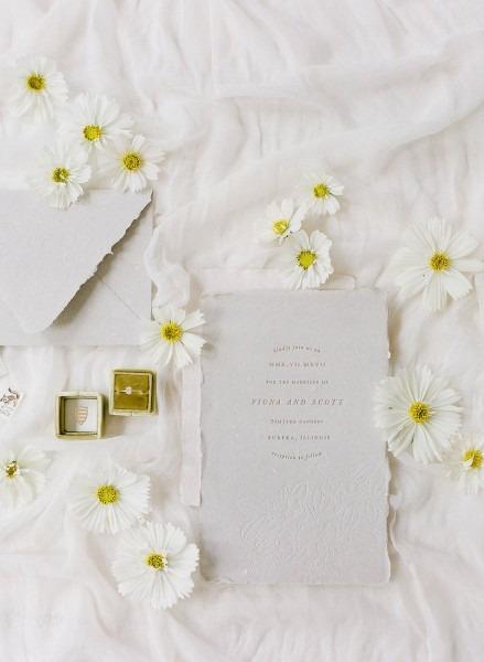 Romantic Torn Edge Wedding Invite Gray  Cheer Up Wedding