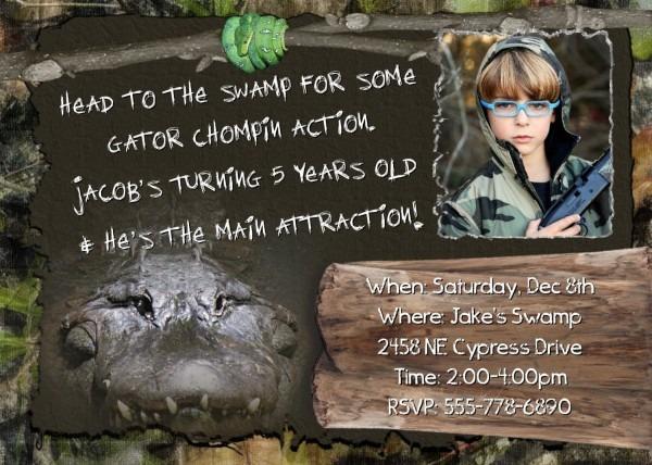 Swamp Invitation Crocodile People Hunting Boys Birthday Party