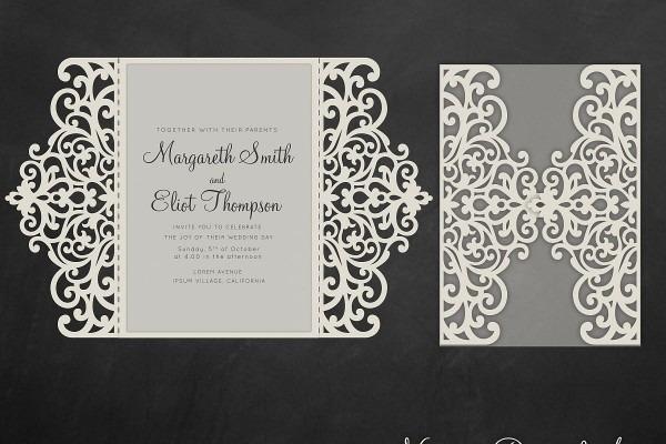 Gate Fold Wedding Invitation , 5x7, Cricut Template, Quinceanera