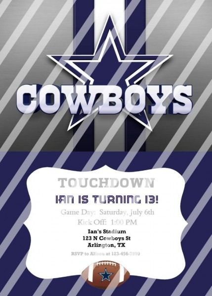 Dallas Cowboys Personalized Digital Party Invitation  50 (any