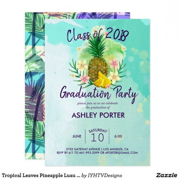 Tropical Leaves Pineapple Luau Graduation Invitation In 2019