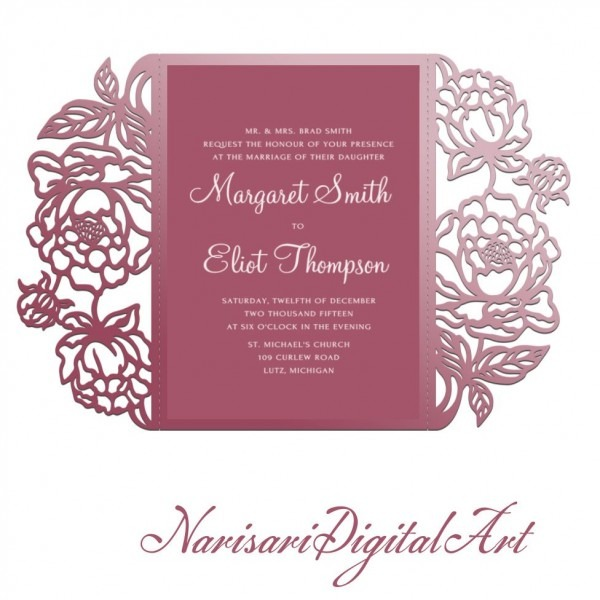 Peonies Cut Wedding Invitation, 5x7 Gate Fold Card Template