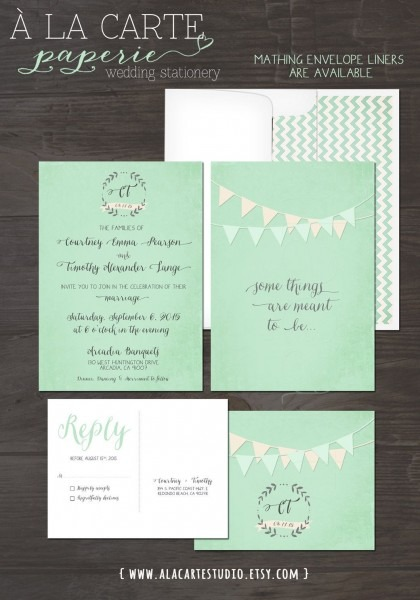 Mint Green Bunting Flags Whimsical Wedding By Alacartestudio