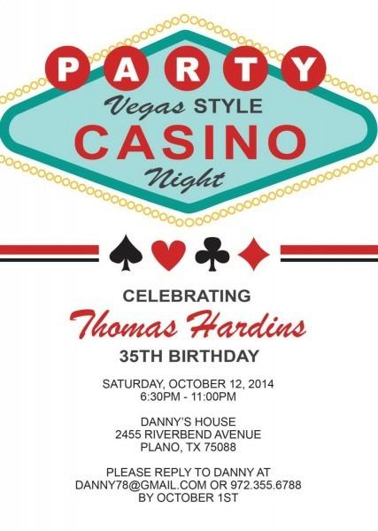 Las Vegas Birthday Invitation Adult Birthday By Announceitfavors