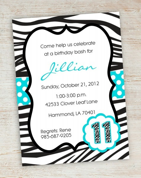 Free Printable Zebra Party Invitations