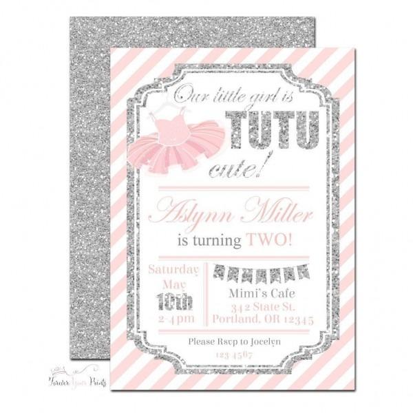 Pink And Silver Tutu Birthday Invitation