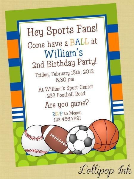 Sports Printable Birthday Invitation, Personalized Sports Birthday