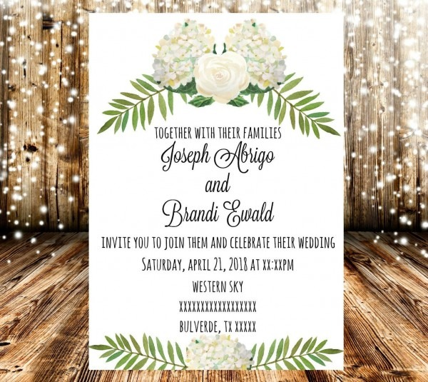 White Wedding White Hydrangea White Rose Wedding Invitation By