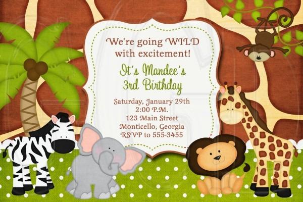 Jungle Invite, Zoo Safari Birthday Invitation, Jungle Baby Shower