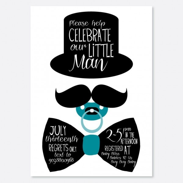 Little Man Bow Tie Baby Shower Invitations Cakepins Com