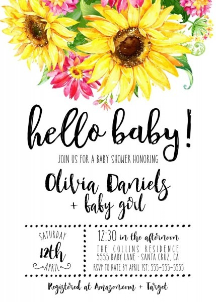 Sunflower Baby Shower Invitations, Country Themed Shower, Rustic