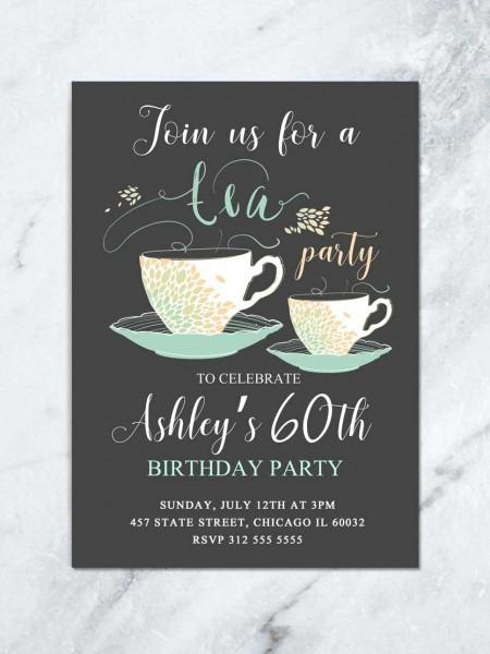 Adult Birthday Invite Tea Party Invitation Admission Letter