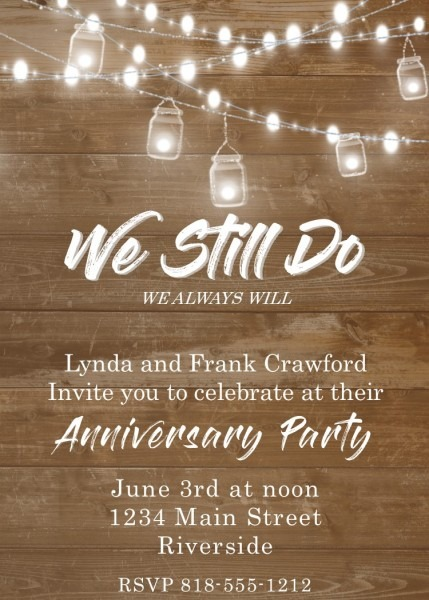 Adult Party Anniversary Good Anniversary Party Invitation