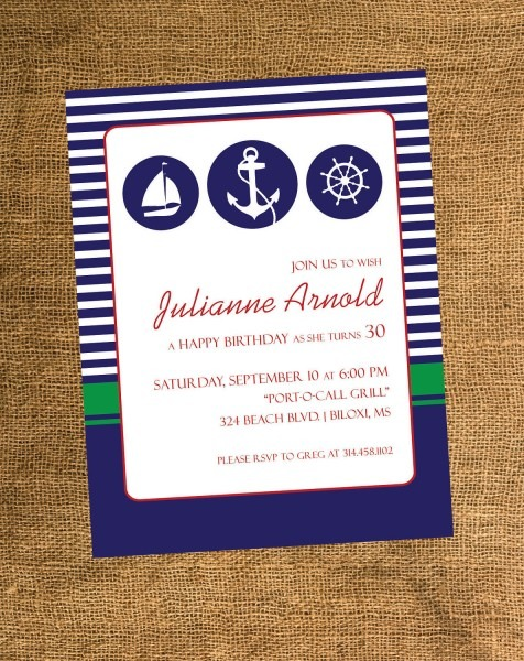 Adults Birthday Invitations Nautical Theme Party 1500 Via Etsy