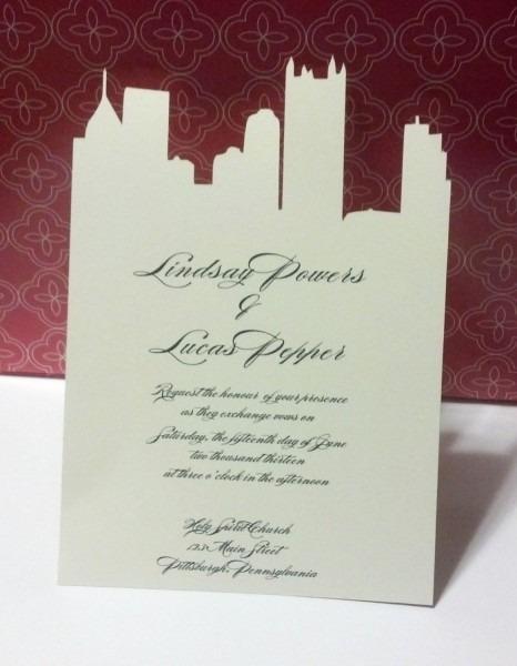 Pittsburgh Skyline Custom Cut Invitation Black And White  $5 00