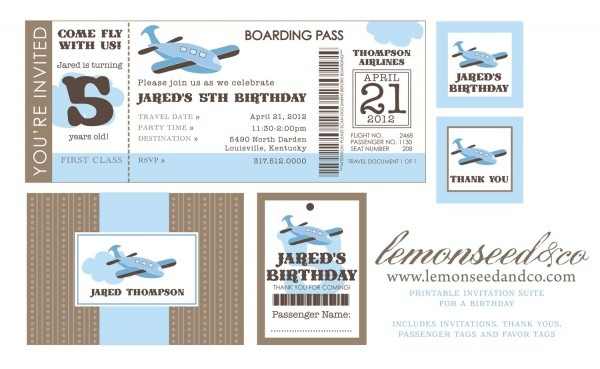 Airline Ticket Invitation Template Airplane Party Invitations