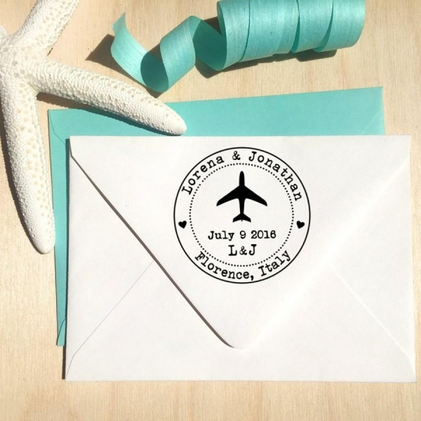 Airplane Stamp With Hearts, Initials And Date For Save The Dates