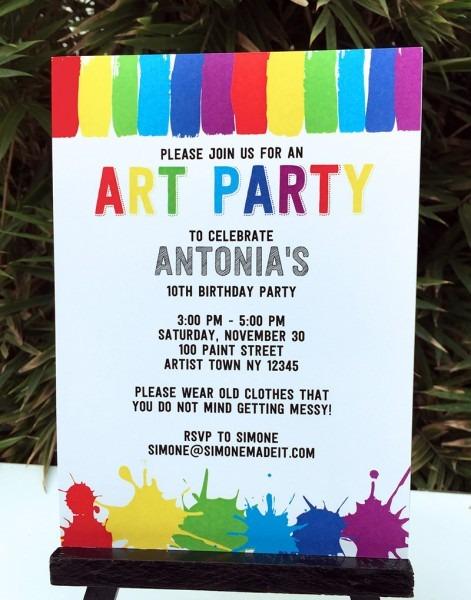 Art Birthday Party Theme Vintage X Party Invitation Templates