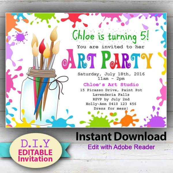 Party Invitation Template Art Party Invitations Free Printable