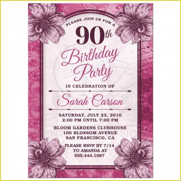 Cool 90th Birthday Invitations Designs  1397