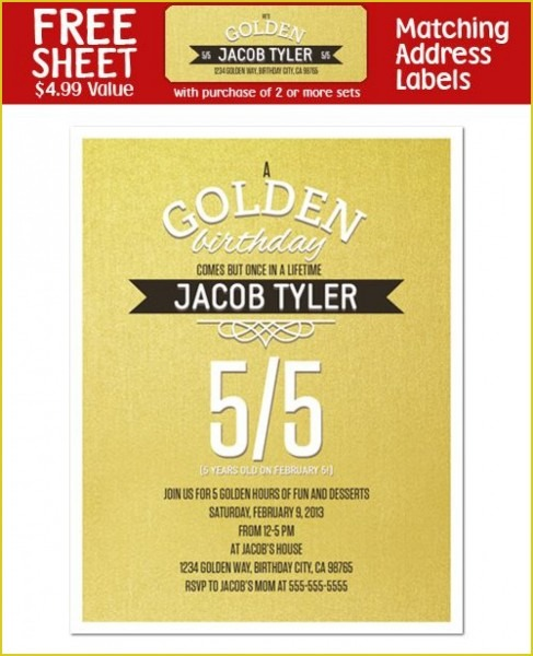 Attractive Golden Birthday Invitations Which Can Be Used As