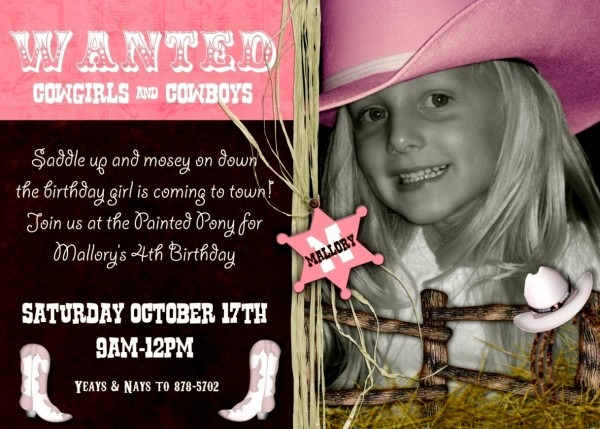 Latest Of Cowgirl Birthday Invitation Wording Theme Baby