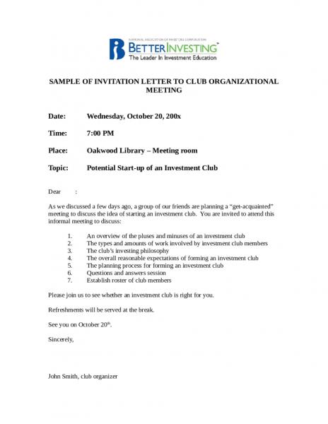 Sample Business Event Invitation Letter Pdf