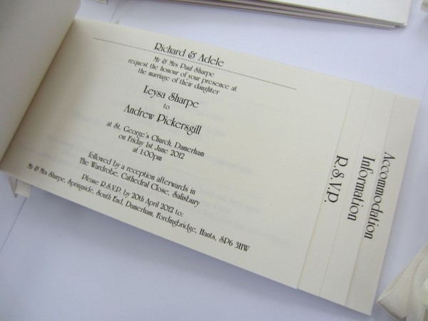 Cheque Book Style Wedding Invitation Plain Paper Inserts
