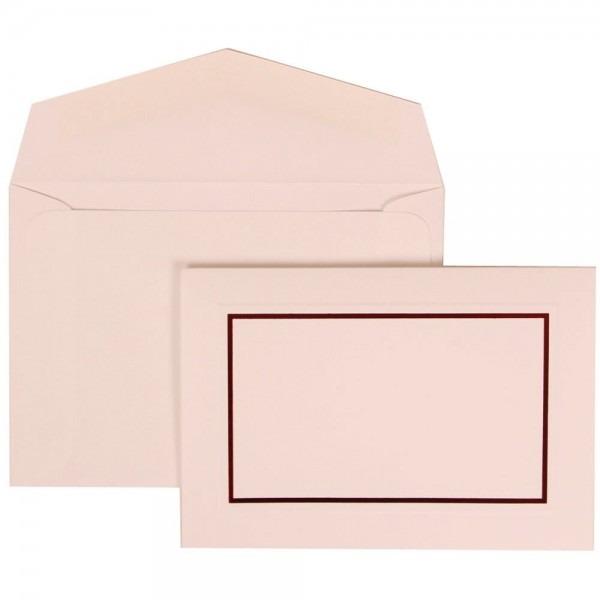 Jam Paper Wedding Invitation Set, Small, Red Border Set, Red Card