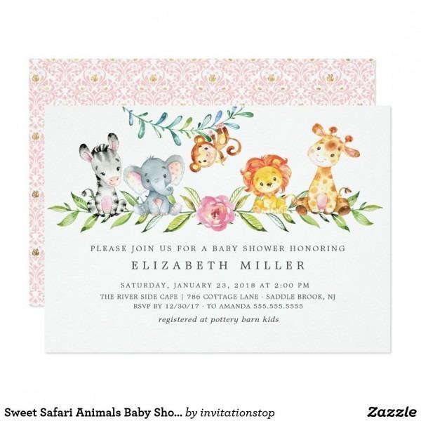 Sweet Safari Animals Baby Shower Invitation  Baby Shower
