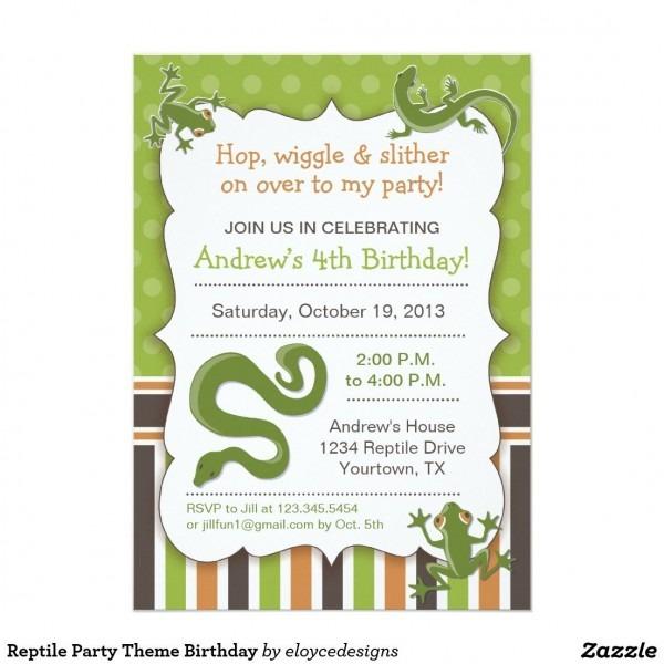 Reptile Party Theme Birthday Invitation