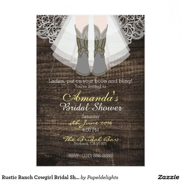 Rustic Ranch Cowgirl Bridal Shower Invitation 5 X7 Rustic Ranch