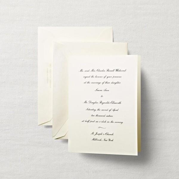 Ecruwhite Embassy Wedding Invitation