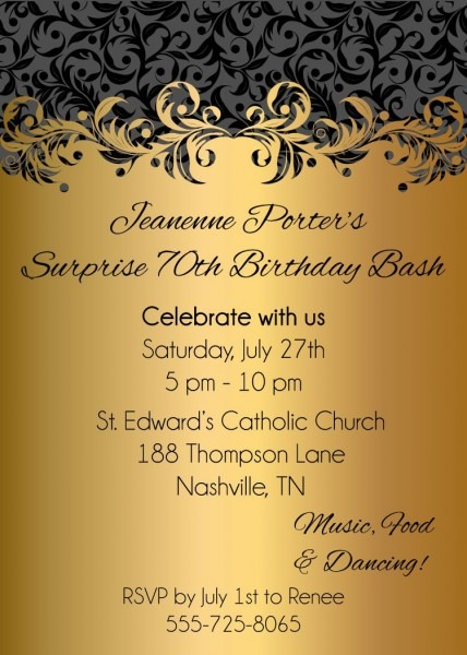 Gold Ornate Adult Birthday Party Invitations