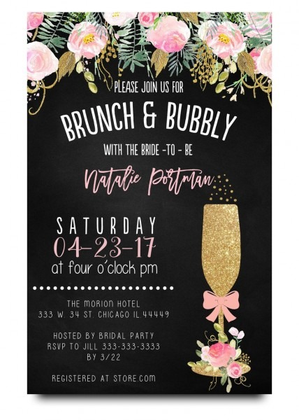 Brunch And Bubbly Chalkboard Bridal Shower Invitation