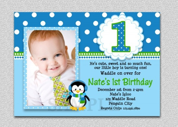 Baby Boy First Birthday Invitations