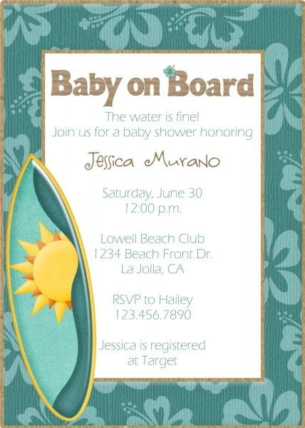 Baby Shower Invitations Sea Theme Beach Theme Baby Shower