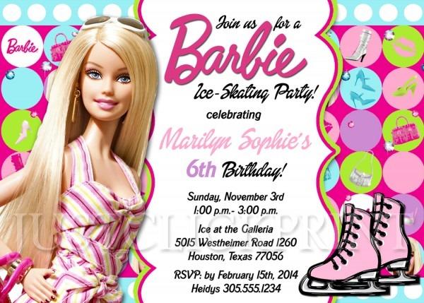 Barbie Girl Skating Birthday Party Invitation Printable · Just