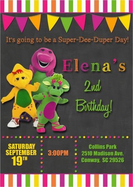 Barney Personalized Birthday Invitations Chalkboard Barney