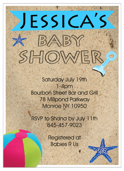 Beach Theme Baby Shower Invitations