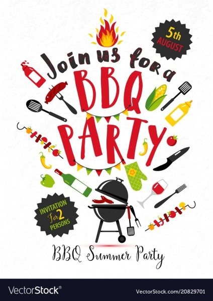 Bbq Party Invitation On White Background With Vector Image