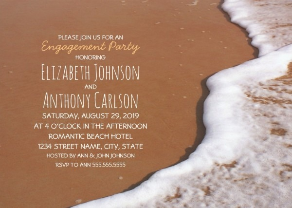Beach Themed Engagement Party Invitation
