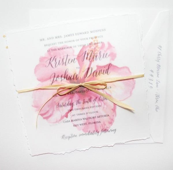 Beach Wedding Invitations Studio Watercolor Flower Hibiscus Floral