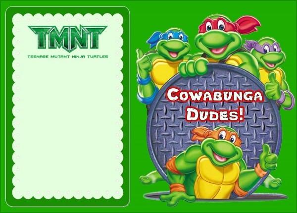 Beautiful Teenage Mutant Ninja Turtles Birthday Invitations Free