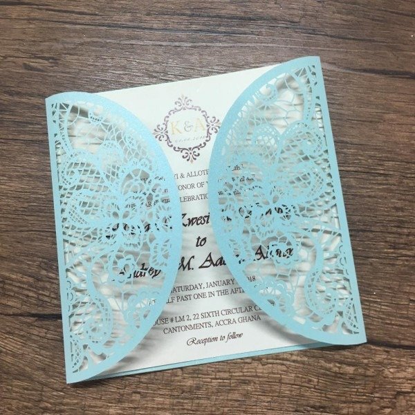 Best Sell White And Blue Beautiful Printing Laser Cut Invitation