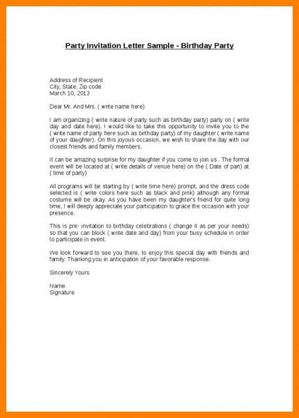 Birthday Party Invitation Letter Sample