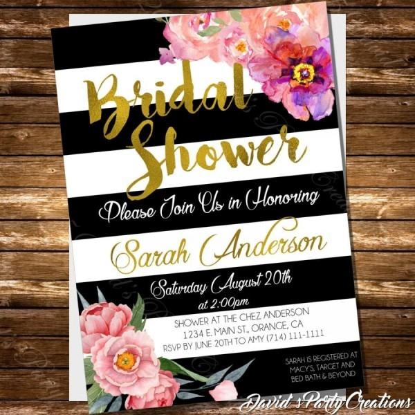 Black And White Striped Bridal Shower Invitation Spade Inspired