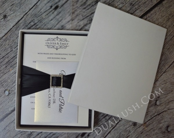 Black Silk Pocket Folio Luxury Wedding Invitation Folio Birthday